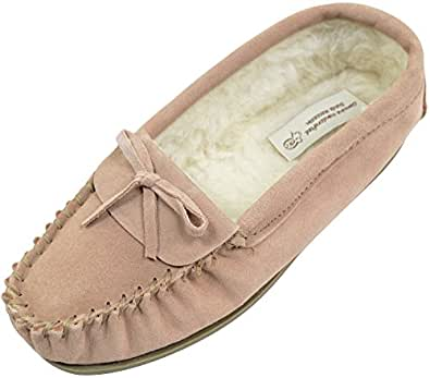 SNUGRUGS Ladies/Womens Suede Sheepskin Moccasins/Slippers with Wool Lining - Camel - 5 US