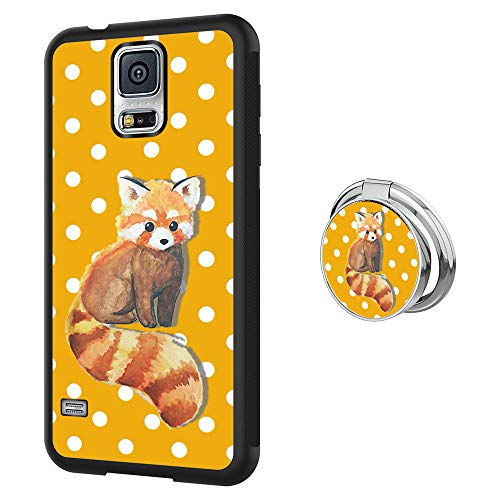 Designed Raccoon Samsung Galaxy S5 Case with Buckle Ring 360¡ã Rotatable Silvery Durable Ring Buckle, TPU Black Antiskid Tread Phone Case for Samsung Galaxy S5 (Case Samsung S5 Galaxy Raccoon)