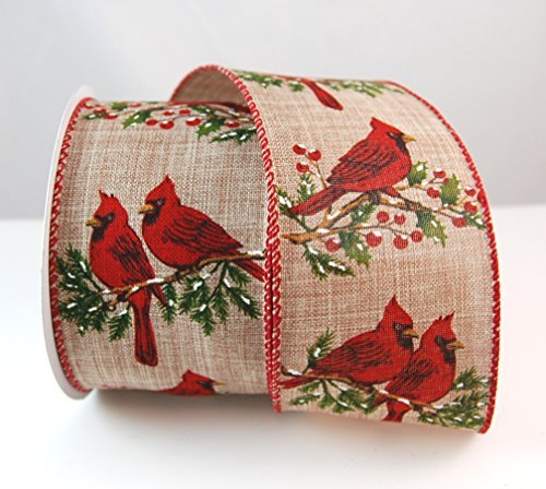 Reliant Ribbon 92768W-750-40F Cardinal Perch Linen Wired Edge Ribbon, 2-1/2 Inch X 10 Yards, Natural