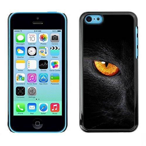 LASTONE PHONE CASE / Coque Housse Etui Shock-Absorption Bumper et Anti-Scratch Effacer Case Cover pour Apple Iphone 5C / Black Cat Fire Eye