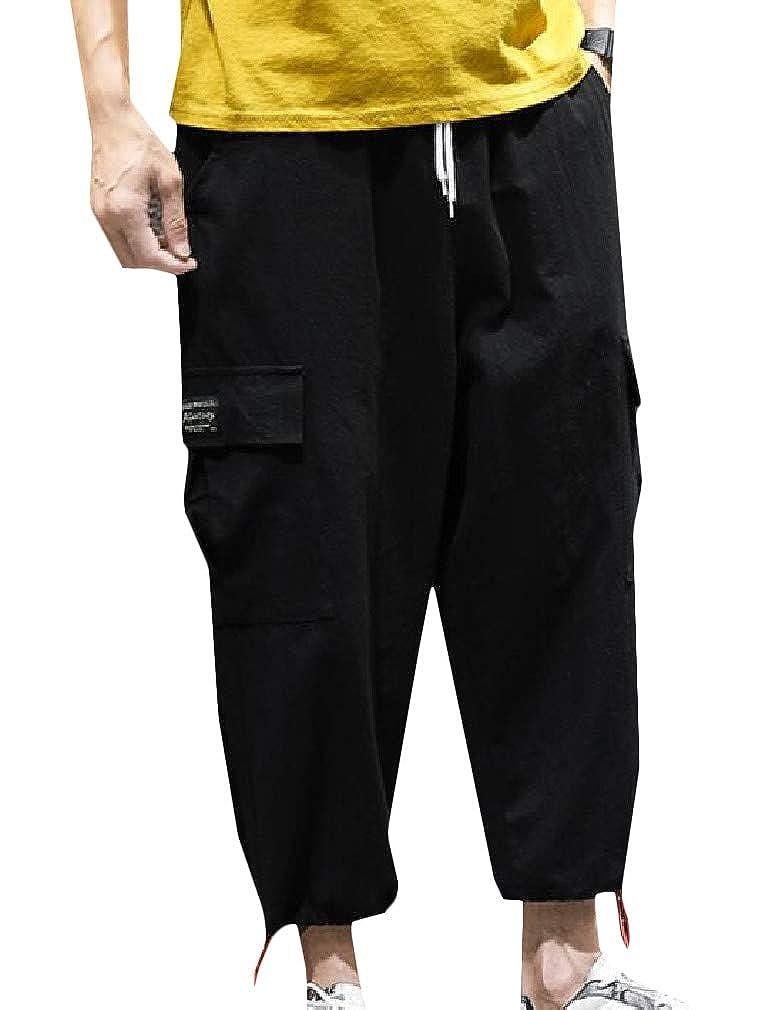 Etecredpow Men Jogging Multi-Pockets Big and Tall Cargo Harem Capri Pants