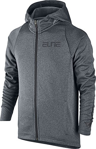 Nike Boys' Therma Elite Full Zip Basketball Hoodie (Cool Grey/Anthracite/Blk, XS) by NIKE