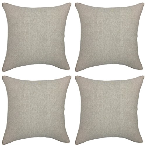 Pillowcases Plain (YOUR SMILE Solid Color Beige Jean Decorative Throw Pillow Case Cushion Cover Pillowcase for Sofa 18 x 18 Inch , Set of 4)