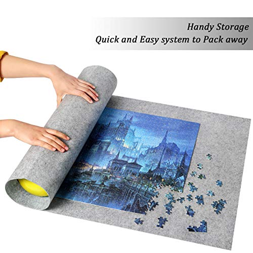 Ingooood Jigsaw Puzzle Roll Up Mat Puzzle Tables for Adults Portable Easy Move Storage Jigsaw Puzzle mat Work Separate roll up Storage System for up to 1,500 Pieces (Grey)