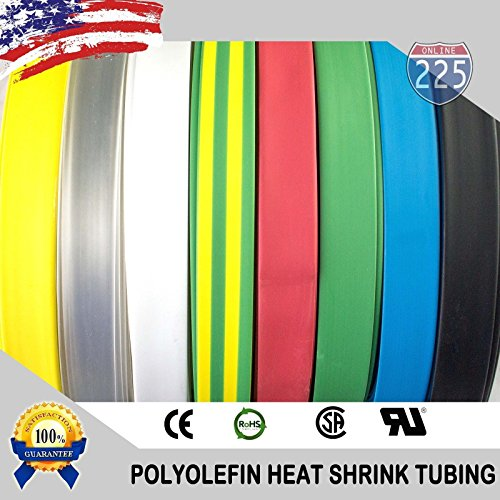 50 FT 5/8'' 16mm Polyolefin Clear Heat Shrink Tubing 2:1 Ratio by 225FWY (Image #1)