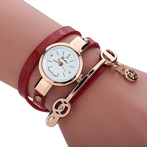Women's Watch,Elegant Wrap Around Strap Bracelet Quartz Dial Metal Wristwatch with Pendant Axchongery (Red)