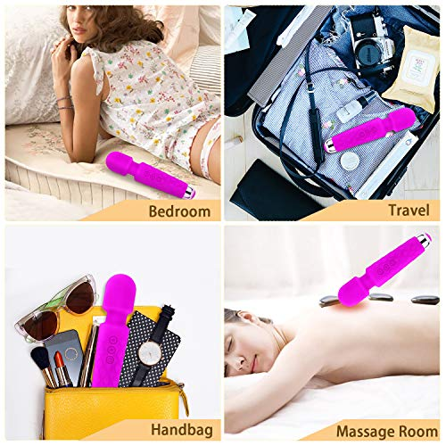 Wand Massager for Women, 8 Powerful Speeds 20 Vibration Modes, Portable Personal Rechargeable Massager, Handheld Cordless Waterproof Massager Therapy Back Neck Muscle Aches Sports Recovery, Quiet