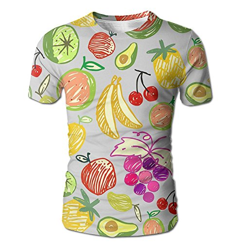 Price comparison product image LiiLlIiii Men's Casual Short Sleeve Apple Lemon Butterfly Watermelon Classic Jersey T-Shirt