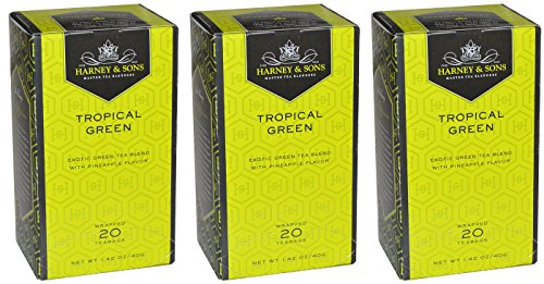 Harney & Sons Tropical Green Wrapped 20 Teabags (Pack of 3)