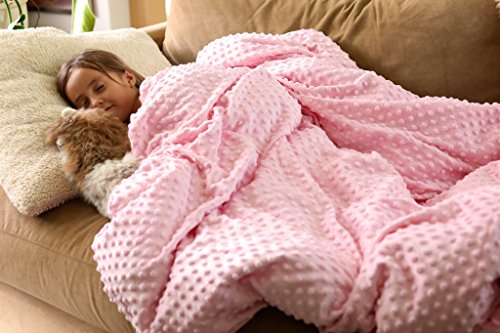 Minky Toddler Blanket (Sensory weighted Blanket | Help your Child Stay Asleep or Falls Asleep Quickly | Great for Autism, Anxiety, ADHD, OCD and Sensory Processing Disorder | Blanket for Special Needs Children - PINK 7lbs)