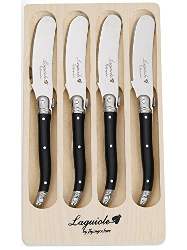 FlyingColors Laguiole Butter Knives / Spreaders Set, Stainless Steel, Black Color Handle, 4 Pieces (Cheese Steak Pan compare prices)