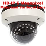 GW 5 Megapixel 2592 x 1920p Pixel HD 5MP H.265 PoE Outdoor Indoor Onvif IP Dome Security Camera with 4X Optical Zoom Motorized Len 25°-115°, 100ft IR Night Vision (White)