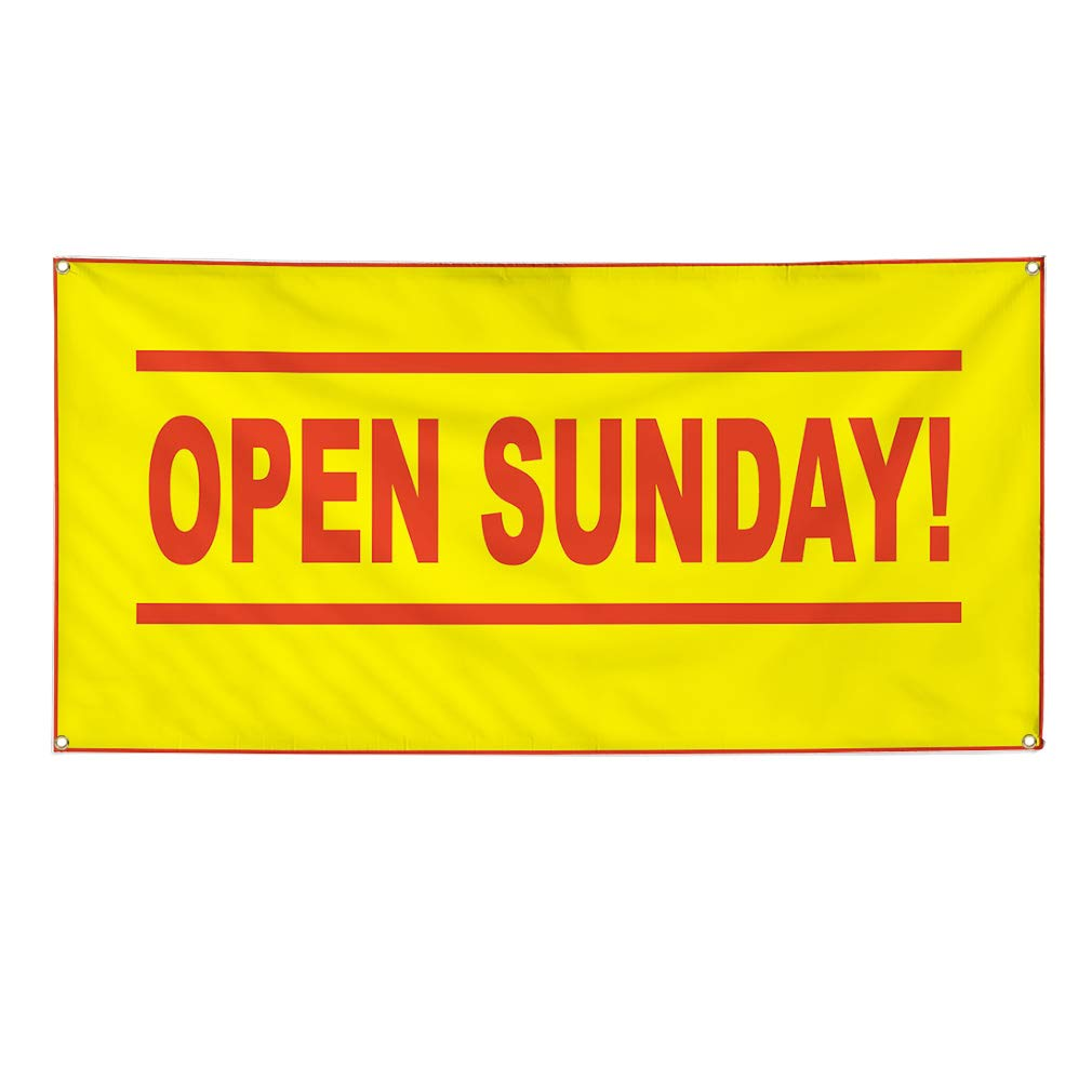 8 Grommets Multiple Sizes Available Vinyl Banner Sign Open Sunday Yellow Red Business Marketing Advertising Yellow One Banner 44inx110in