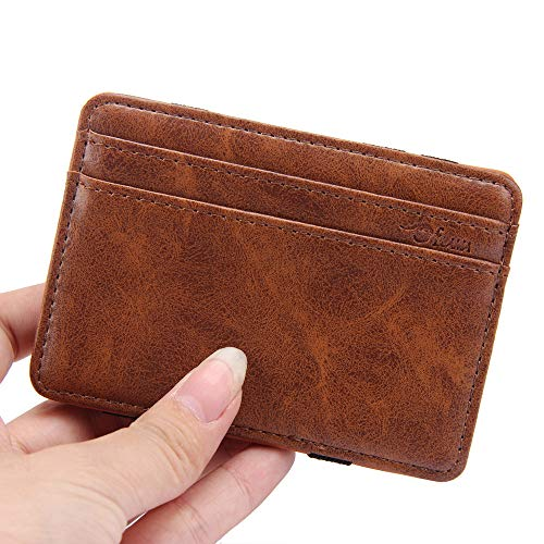 Outsta Leather Wallet Travel Wallet Luxury Mini Neutral Magic Bifold, Card Holder Wallet Purse for Men Women (Light Coffee)