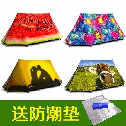 ZHUDJ Outdoor Camping, Camping, 2-3 Personen, Zelte, Parks, Bunt, Individuell, Kreativ, High-End-Anti Sturm, Selbstfahrer Reisen Zelt, Wassermelone