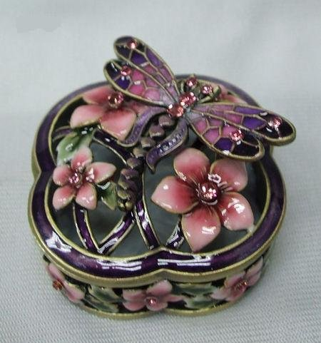 Crystal Dragonfly Trinket Box - Welforth Jeweled Pink Dragonfly & Flower Enamel Jewelry Trinket Box