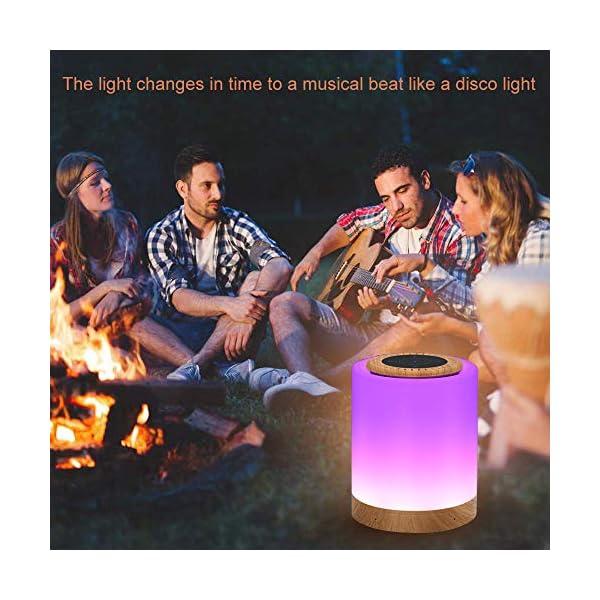 TAIPOW Lampe de Chevet LED Touch Portable avec Enceinte Bluetooth, Veilleuse Multicolore Disco Light Lecture de MP3 Support TF AUX-IN USB Rechargeable, Cadeau pour Adulte Ados Enfants Bébé 6