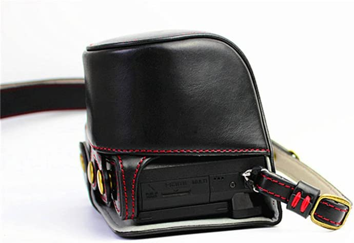 Neck Strap Sony A6400 A6100 Case Coffee BolinUS Handmade PU Leather Fullbody Camera Case Bag Cover for Sony Alpha A6400 A6100 with 16-50mm Lens Bottom Opening Version