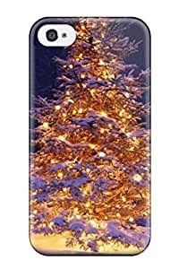 For Iphone 4/4s Premium Tpu Case Cover Exclusive Christmas Tree Snow Winter Protective Case