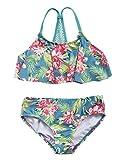 #6: Hilor Girl's Bikini Swimsuits Ruffle Flounce Two Piece Beach Swimwear Tankini Set