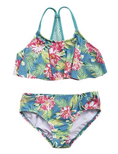 Hilor Girl's Bikini Swimsuits Ruffle Flounce Two Piece Beach Swimwear Tankini Set Green L/10-12]()