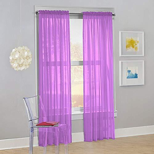 "Decotex Set of 2 Sheer Voile Transparent Window Panel Curtain Drapes (54"" W X 63"" L, Lilac)"
