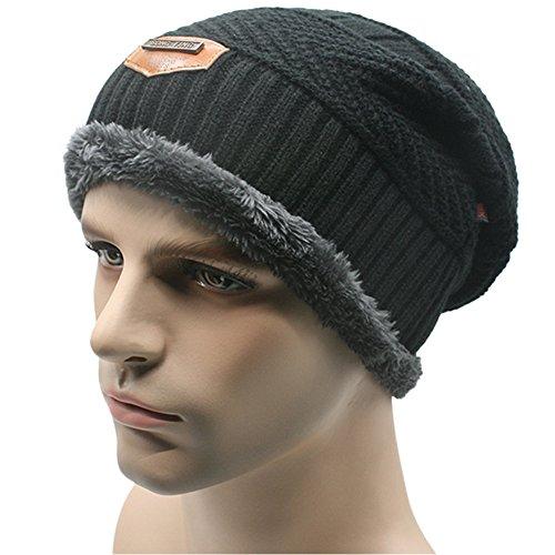 Invierno Soft aire Cap cálido Negro Knit de Grey al grueso forrado Hombres Bonnies Hat libre lana Slouchy 5qSxw8BOt