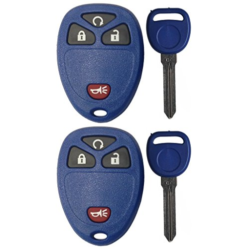 Discount Keyless Pair of Replacement Navy 4 Button Automotive Keyless Entry Remote Control Transmitters 15913421 and Replacement Navy ID 46 Transponder Keys Compatible with GM Vehicles