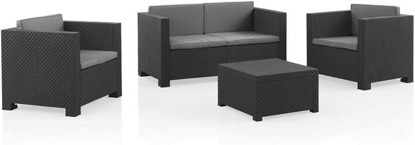 Shaf - Diva | Set Muebles de Jardin de Color Gris Oscuro | Fabricado en España con Materiales Reciclados