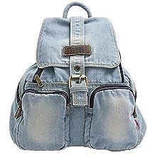 Donalworld Denim Student Backpack Laptop Bag College Cute Canvas Bag