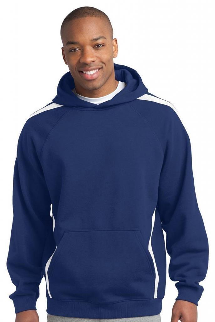 Sport-Tek Sleeve Stripe Pullover Hooded Sweatshirt_True Royal/White_S by Sport-Tek