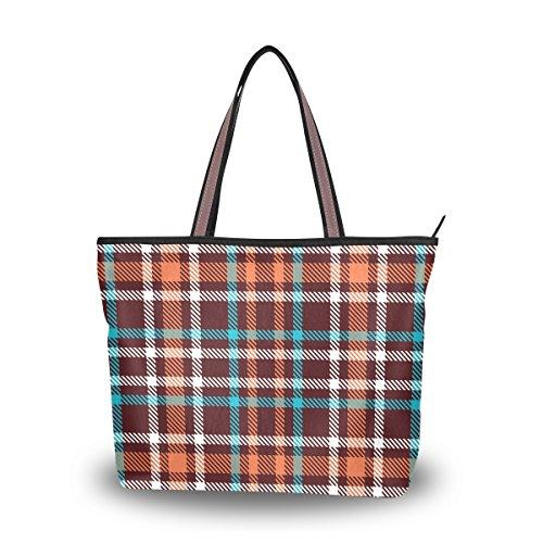 My Daily Women Tote Shoulder Bag Gingham Checkered Plaid Handbag Medium - Gingham Plaid Tote