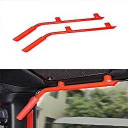 VSEK Grab Bar Rear Grab Handle for 07-16 Jeep JK Wrangler 2 & 4 Door- 1 Pair (Red)