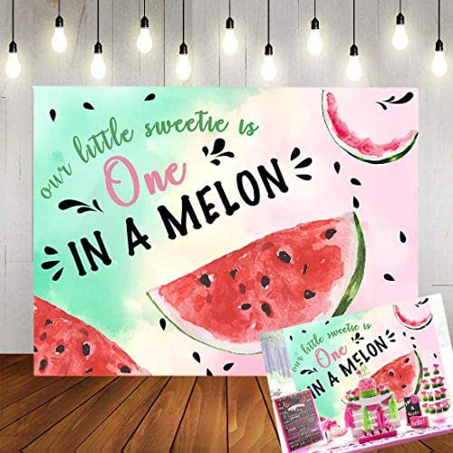TJ Watermelon Theme One in a Melon Photography Background Children Baby Shower 1st Birthday Party Backdrop Summer Fruit Cake Table Decoration Banner Kids Photo Studio Booth Props 7x5FT Vinyl