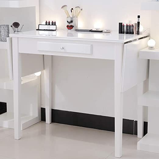 Chende White Makeup Vanity Table with Drawer and Drop Leaf for Bedroom  Bathroom, Wooden Writing Desk for Home Office Furniture, Folding Console  Table