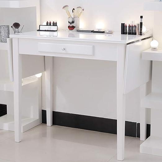 Chende Mesa de tocador de Maquillaje Blanco con cajón, Escritorio ...