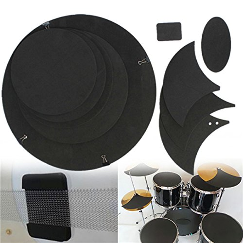 MD Group Drumming Rubber Practice Pad Set 10Pcs Bass Snare Drum Sound off Mute Silencer MDG-01-735358