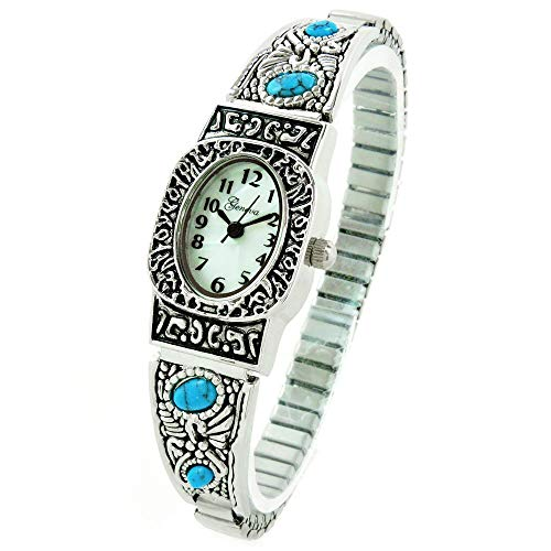 Silver Turquoise Oval Face Decorated Women's Semi-Stretch Bracelet Watch