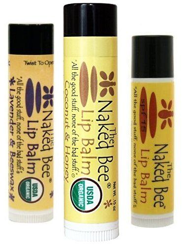 Naked Bee Lavender & Beeswax, Coconut & Honey, and Orange Blossom Honey Lip Balm 3 Pack (Variety, 3)