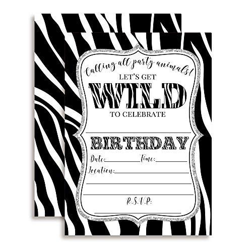 Zebra Print Wild Birthday Party Invitations, Ten 5