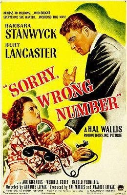 Amazon.com: Sorry Wrong Number - 1948 - Movie Poster: Posters & Prints
