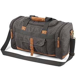 Plambag Men's 50L Canvas Luggage Duffel Bag Travel Tote Shoulder Bag Large Gray