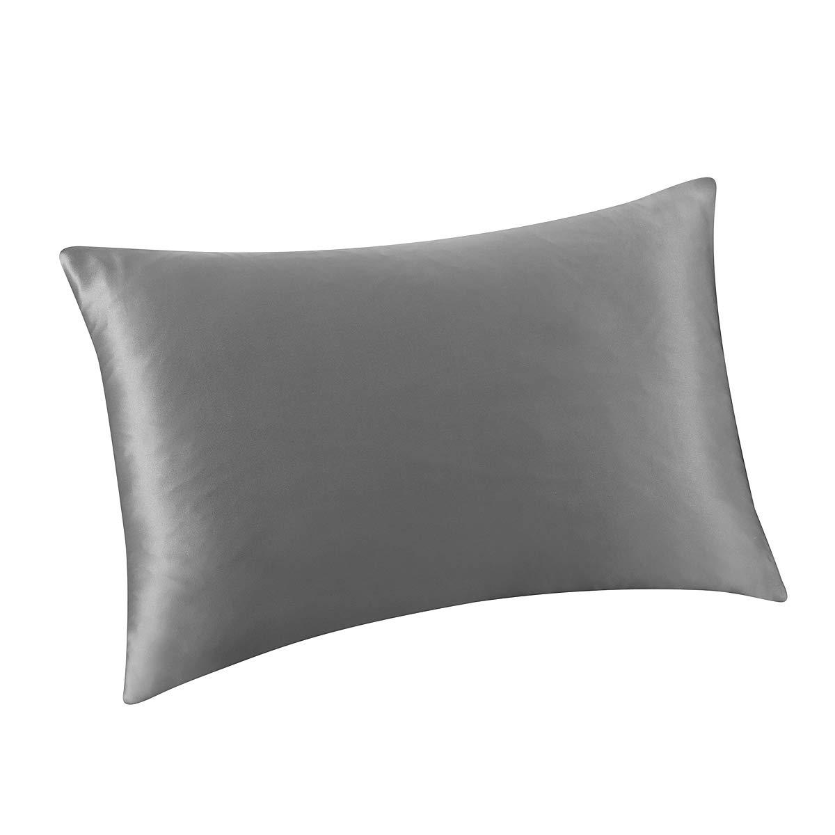 ALASKA BEAR Natural Silk Pillowcase for Hair and Skin 19 Momme 600 Thread Count 100 Percent Hypoallergenic Mulberry Silk Pillow Slip Queen Size with Hidden Zipper (1, Iron Grey) by ALASKA BEAR