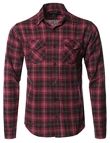 Burgundy Flannel (Youstar Flannel Plaid Checkerd Long Sleeve Tshirts Burgundy Yellow Size L)