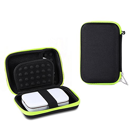 Shockproof Carrying Case for HP Sprocket Portable Photo Printer / Polaroid ZIP Mobile Printer Storage Travel Bag Protective Pouch Box (Black+Green) by Esimen