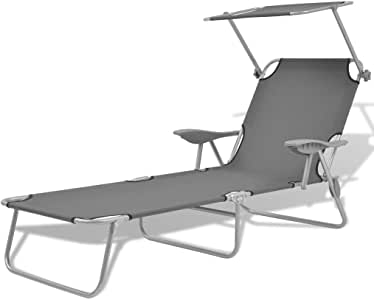 vidaXL Sun Lounger with Canopy Steel with Armrest Waterproof Outdoor Garden Patio Camping Beach Day Bed Grey
