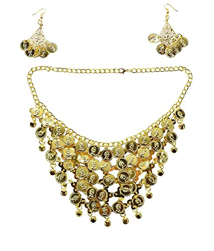 REINDEAR Vogue Style Chiffon Dangling Gold Coins Belly Dance Hip Scarf US Seller (3 Pcs Necklace & Earrings Set)