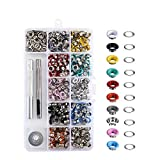 Anpatio 300pcs Metal Eyelet Decorative Grommet Tools Punch Round 10 Colored for Leather Fabric DIY Craft Shoe Canvas Sewing