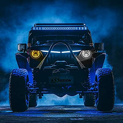 SS VISION 7 Inch LED Halo Headlights for Jeep Wrangler CJ TJ JK Hummer, DOT Approved 2Pcs 80W Hi/Lo Beam Round Headlamp with White DRL Amber Turn Signal Halo Ring Angle Eyes and H4 H13 Adapter: Automotive