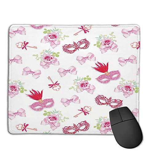 (Mouse Pad Custom,Non-Slip Rubber Mousepad,Masquerade,Masks and Vintage Keys Floral Bouquets Bows Pattern in Party Themed Design,Pink and Green,for Laptop, Computer, PC, Keyboard,H9.8XW11.8inch)